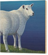 Sheep At The Edge Wood Print by James W Johnson