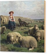 Shepherdess With Sheep In A Landscape Wood Print by C Leemputten and T Gerard