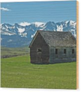 Shields Valley Abandoned Farm Ranch House Wood Print by Bruce Gourley
