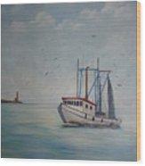 Shrimp Boat Wood Print by Carolyn Speer