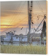 Shrimp Boat Sunset Charleston Sc Wood Print by Dustin K Ryan