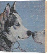 Siberian Huskies In Snow Wood Print by Lee Ann Shepard
