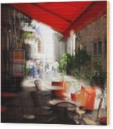 Sidewalk Cafe In Red Wood Print by Wayne Archer