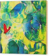 Silk Painting With A Heart  Wood Print by Alexandra Jordankova