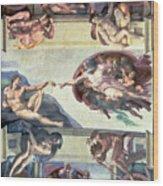 Sistine Chapel Ceiling Creation Of Adam Wood Print by Michelangelo