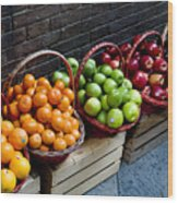 Six Baskets Of Assorted Fresh Fruit Wood Print by Todd Gipstein