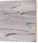 Skiing Tracks Wood Print by John Foxx
