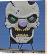 Skull Fun House Sign Wood Print by Garry Gay