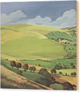 Small Green Valley Wood Print by Anna Teasdale