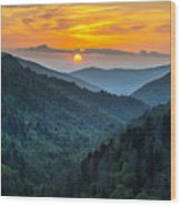 Smoky Mountains Sunset - Great Smoky Mountains Gatlinburg Tn Wood Print by Dave Allen