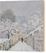 Snow At Louveciennes Wood Print by Alfred Sisley