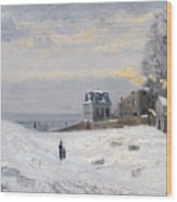 Snow At Montmartre Wood Print by Hippolyte Camille Delpy