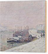 Snow In Rouen Wood Print by Jean Baptiste Armand Guillaumin