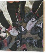Soccer Feet Wood Print by Kelley King