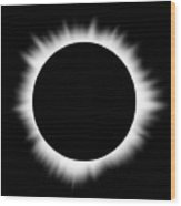 Solar Eclipse With Corona Wood Print by Don Farrall