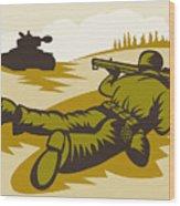 Soldier Aiming Bazooka Wood Print by Aloysius Patrimonio