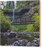 South Silver Falls With Bridge Wood Print by Darcy Michaelchuk