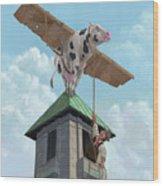 Southampton Cow Flight Wood Print by Martin Davey