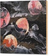 Space Eaten Peaches Wood Print by Evguenia Men