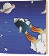 Space Travel Wood Print by Jane Rix