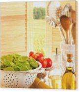 Spaghetti And Tomatoes In Country Kitchen Wood Print by Amanda Elwell