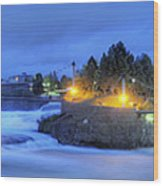 Spokane Falls Wood Print by Michael Gass