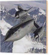 Sr-71b Blackbird In Flight Wood Print by Stocktrek Images