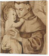 St. Anthony Wood Print by Conrad  Pinto