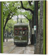 St. Charles Street Car Wood Print by Linda Kish