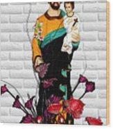 St Joseph Holding Baby Jesus - Catholic Church Qibao China Wood Print by Christine Till