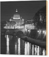 St. Peters At Night Wood Print by Donna Corless