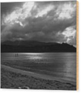 Stand Up Paddlers In Stormy Skies Wood Print by Lennie Green
