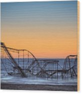 Star Jet Roller Coaster Ride  Wood Print by Michael Ver Sprill