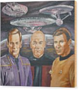 Star Trek Tribute Enterprise Captains Wood Print by Bryan Bustard
