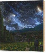 Starry Night Wood Print by Alex Ruiz