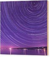 Starry Night Of Cayuga Lake Wood Print by Paul Ge