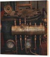 Steampunk - Plumbing - The Valve Matrix Wood Print by Mike Savad