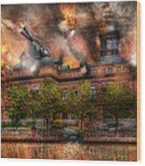 Steampunk - The War Has Begun Wood Print by Mike Savad