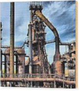 Steel Stacks Bethlehem Pa. Wood Print by DJ Florek