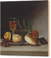 Still Life With A Wine Glass Wood Print by Raphaelle Peale