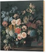 Still Life With Basket Of Flowers Wood Print by Jean-Baptiste Monnoyer