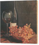 Still Life With Wine And Grapes Wood Print by Anna Rose Bain