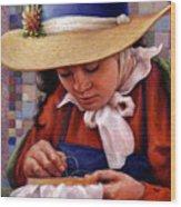 Stitch In Time Wood Print by Jane Bucci