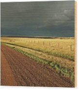 Storm Clouds Along A Saskatchewan Country Road Wood Print by Mark Duffy
