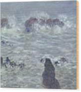 Storm Off The Coast Of Belle Ile Wood Print by Claude Monet