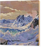 Storm On Pacific Coast Wood Print by David Lloyd Glover