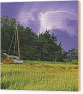 Storm Over Knott's Island Wood Print by Charles Harden