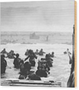 Storming The Beach On D-day  Wood Print by War Is Hell Store
