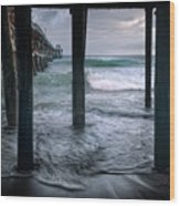 Stormy Pier Wood Print by Gary Zuercher