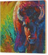 Straight Forward Introduction - Bison Wood Print by Marion Rose
